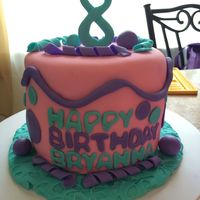 8Th Birthday Cake 3 layer 6 inch fondant