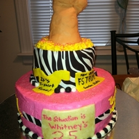 "Jersey Shore Theme Birthday Cake Molded rice krispies covered in fondant for the ""fist pump"""