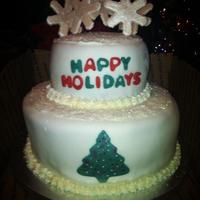Eggnog Flavored Cake And Buttercream Covered In Fondant Snowflakes Made Out Of Gum Paste Eggnog flavored cake and buttercream. Covered in fondant; snowflakes made out of gum paste.