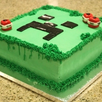 "Minecraft Creeper Cake 9"" square cake"