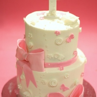 A Little Bit Of Pink Baptism Cake