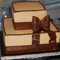 Ivory & Brown Bow Wedding Cake