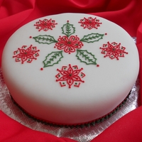 Christmas Cake 4 Fruit cake covered with marzipan & fondant with royal icing piping.