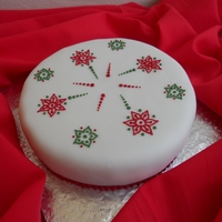 Christmas Cake 3 Fruit cake covered with marzipan & fondant with royal icing piping.