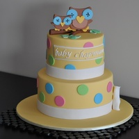 Sweet Owl Baby Shower Cake   Owl toppers made to match the invitation