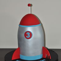Zoom, Zoom, Zoom - We're Going To The Moon!   Rocket cake made for a 3 year old boy and designed by his father.