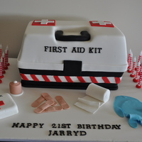 First Aid Kit Cake This cake was made for a guy who is training to be a paramedic. The cake was a surprise and a hit with the birthday boy!