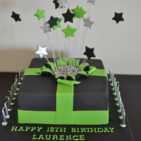 Green And Black Exploding Star Cake