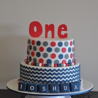 Red And Navy Chevron And Spots Cake  This was my first attempt at chevron and I found the small chevron pattern very fiddly but overall it came out ok. Looking forward to...