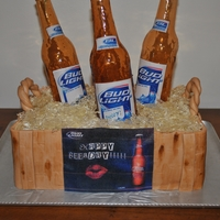 Sugar Bottle Budlight Cake All Edible, The bottles are made of sugar!