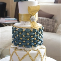 Gold And Turquoise Wedding Cake