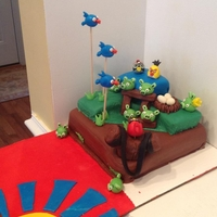 Angry Birds Birthday This is only my 4th fondant cake, so I still have a lot to learn...but I sure had fun doing this!