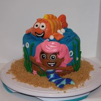 Bubble Guppies Mini Cake My first attempt at making characters with fondant. (Fondant still a bit wet from cleaning up...)