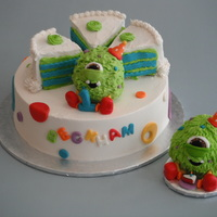Little Monster Cake For my one year old nephew aka our little monster. Party cake and smoosh cake for him.