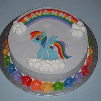 My Little Pony Rainbow Dash Cake Rainbow Dash cake for little girl that loves My Little Ponies. Cake was rainbow checkerboard inside too.
