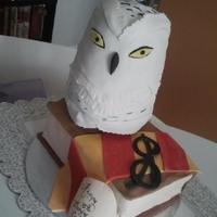 Harry Potter Owl Strawberry cake covered in Satin Ice fondant.