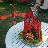 "How To Train Your Dragon Cake How to Train Your Dragon volcano cake with gumpaste dragons. The cake had dry ice ""smoke"" coming out of the cavity which you..."