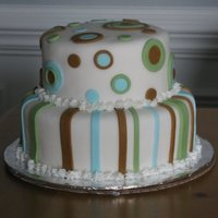 Fisher's Cake Baby shower cake for a co-worker. This is one of my favorite cakes I've done for how cleanly it came out. Based on this bedding: http...