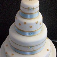 4 Tier Simple Bow Wedding Cake