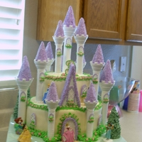 Princess Castle Cake! My daughters 3rd birthday! 2 tiered cake covered in fondant and then used Wiltons Castle kit. It has over 250 mini pink rosettes. Sorry my...