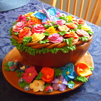 Flower Pot Cake Last year I made my mom a flower pot cake filled with hand made flowers. Some were even hand-painted. It was so much fun.