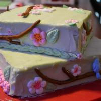 Cherry Blossom Birthday Cake *Yellow cake with creamcheese buttercream frosting and gumpaste decor.