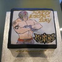 Rey Mysterio   hand painted cake of rey mysterio