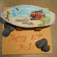 Hand Painted Surf Board Cake