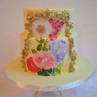 This Was The First Time I Tried Painting On A Cake With Petal Dust I Piped The Frame Using Royal Icing And Then Hand Painted It Gold This was the first time I tried painting on a cake with petal dust. I piped the frame using royal icing and then hand painted it gold. :)
