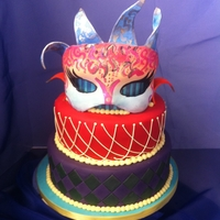 Masquerade Cake Stripes on top tier and diamonds on bottom tier are painted on, middle tier is piped, the mask and collar are pastilage that was painted....
