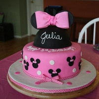 Minnie Mouse Cake  Cake is marbled (chocolate & french vanilla) with buttercream icing covered in fondant. Minnie Cake is marbled (chocolate & french...