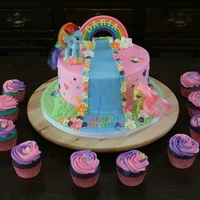 My Little Pony Cake  This is a French Vanilla cake with vanilla buttercream frosting & fondant & gumpaste decorations. All edible except for the 2...
