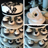 Black And White Floral Birthday Cupcakecake Tower Black and White Floral Birthday cupcake/cake tower