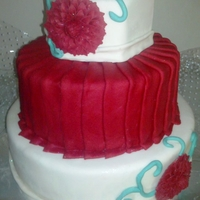 Red Bloom And Pleats Three tier cake of three levels each (pretty tall, I know). Red velvet for bottom tiers and chocolate for upper tier. Covered in fondant...