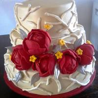 Fruit Cake Covered In Fondant And Airbrushed With A Pearl Sheen Flowers Are Gumpaste The Design Isnt Mine I Got It From A Wedding Magazi Fruit cake covered in fondant and airbrushed with a pearl sheen. Flowers are gumpaste. The design isn't mine- I got it from a Wedding...
