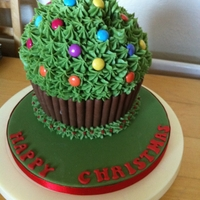 Giant Cupcake-Christmas Tree Giant cupcake in a christmas tree style, i made this for my sons school raffle