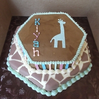 Kiyah's Welcome 9 & 12 inch hexagon ambrosia cakes filled with cream cheese frosting and covered in a cream cheese/buttercream hybrid frosting. Giraffe...