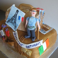 Traveler's Birthday Cake 70th Birthday cake for avid hiker and world traveler.