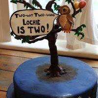 Owl Birthday Cake The owl and balloons were made of gumpaste.The tree was made from modelling chocolate.The cake was devil's food with maple fudge...