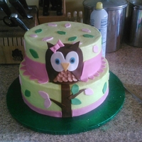 Owl Birthday Chocolate and Strawberry cake, with vanilla buttercream, and fondant decorations.