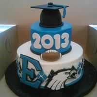 Football Eastern High School Grad Cake Handpainted School Logo *Football Eastern High School Grad cake, handpainted school logo