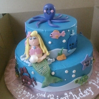 Mermaid Cake Strawberry and vanilla cake with vanilla buttercream, and fondant decorations.