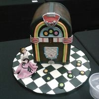 1950S Jukebox Cake With Edible Poodle Skirt Girl *1950's Jukebox Cake with edible Poodle Skirt Girl