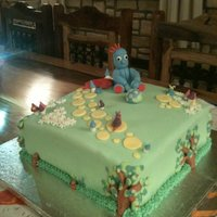 In The Night Garden Cake  This was a 1st birthday, cake it was huge and was a rather heavy chocolate cake iced mainly with fondant icing and filled with chocolate...