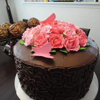 Rose's Ganache Chocolate Cake Roses and Butterfly's