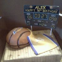 Lakers Cake Cake for basketball and floor. Fondant jersey. Icing images edible scoreboard.
