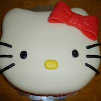 Hello Kitty Vanilla cake with vanilla icing. Covered in fondant. All fondant decor.