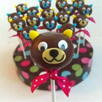 Teddy Bear Cakepops I made this cute cake pops for a friend's son. Chocolate cake with chocolate buttercream covered with chocolate ganache.
