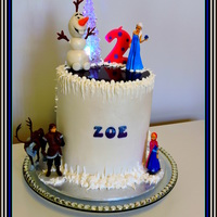 "Zoe's Frozen 2Nd Birthday  ""I want a Frozen birthday cake nanny"".White mud cake with fondant, bottom layer rainbow, top layer has bright spots inside. Royal..."
