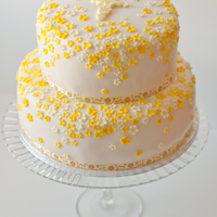 First Communion Cake With Yellow Flowers First Communion cake with yellow flowers.